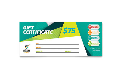 Free gift certificate template sample gift certificates fitness trainer gift certificate sample template yelopaper Image collections