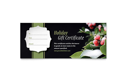 Free gift certificate templates download certificate designs holly leaves gift certificate template yelopaper Image collections