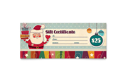 Free gift certificate template sample gift certificates retro santa gift certificate template yelopaper Image collections