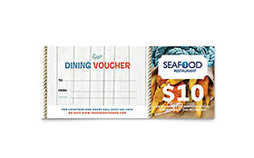 Seafood Restaurant - Gift Certificate Sample Template